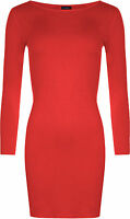 New Women's Long Sleeve Stretch Body con Ladies Plain Short Mini Dress Top 8-22