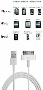 Lot of 1-1000 OEM Apple iPhone 4 4S 3GS 3G 30 Pin USB sync Data Cable Charger