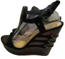 "GIANNI BINI Black Genuine Leather 4"" Wedge Sandals Size  9 EUC"