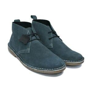 Men's Suede Boots, Men's Wide Fit Desert Chukka Boots, Genuine Leather (AU/UK)