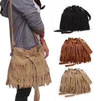 Women's Hobo Fringe Tassel Shoulder Bag Crossbody Bag Messenger Handbag Satchel
