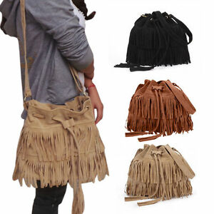 Womens Faux Suede Handbag Crossbody Satchel Fringe Messenger Shoulder Tassel Bag