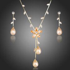 New Yellow Gold Plated Zircon Pearl Necklace Earrings Flower Women's Jewelry Set