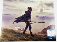 DAISY RIDLEY SIGNED REY 16X20 PHOTO THE FORCE AWAKENS LAST JEDI BAS COA 243