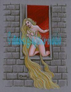 Sexy RAPUNZEL color original fantasy pin-up art by JOE ORSAK