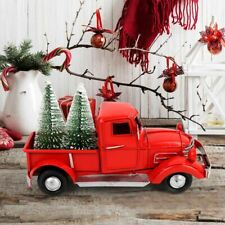 Little Red Metal Truck with 2 Mni Christmas Tree Kids Gifts Xmas Table Top Deco