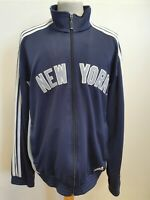 I211 MENS ADIDAS NEW YORK MLB BLUE GREY FULL ZIP TRACKSUIT JACKET UK XL EU 54