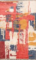 Abstract Modern Moroccan Oriental Area Rug Hand-knotted Plush Wool Carpet 5x7 ft