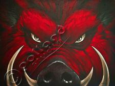 Mad Hog pollard 17x23 signed art PRINT wild feral pig
