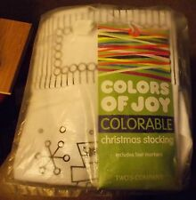 TWO'S COMPANY COLORS OF JOY COLORABLE WHITE CHRISTMAS STOCKING SNOWMAN NIP