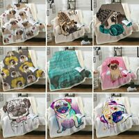 Hippie Pug Soft Warm Sherpa Throw Sofa Bed Blankets Office Rug Quilt All Size