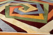 """Momeni New Wave NW-84 Multi Color Hand Tufted Wool Area Rug + Pad 7'6""""x9'6"""" NEW"""