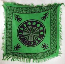 "Green Moon Phase altar/tarot cloth 18"" x 18"" -  Wicca - Pagan"