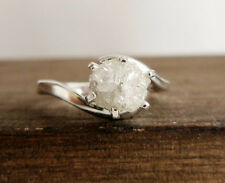 Rough Diamond Silver engagement ring Nr457 0.76 ct Natural Snow White Uncut Raw