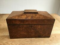 George III burr yew, sarcophagus tea caddy