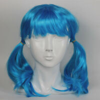 Sally Face Long Double Ponytail Wig Sally Halloween Cosplay Blue Straight Wig
