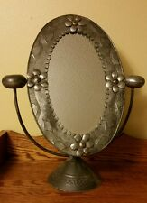 "Antique Art Deco Mirror Mexico Silver 19"" Tall Oval Dresser Mirror on Stand"
