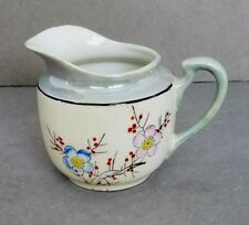 Japanese Lustreware Creamer Pink & Blue Cherry Blossoms Red Berries Blue Rim