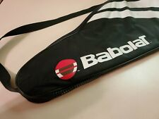 Babolat Tennis Racquet Bag. Black bag with white stripes and logo. Padded soft