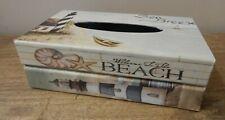 TISSUE BOX HOLDER SEA BEACH NAUTICAL THEME HINGED LID