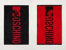 Moschino x H&M HM Jacquard-Weave Bath Towel Beachtowel Black Red NWT
