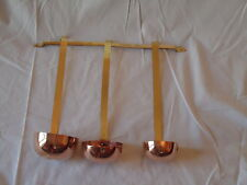 Set of 3 Copper & Brass Drink Ladles - Whisky, Rum and Brandy with hanging rail