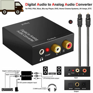 Optical Coax Toslink Digital to Analog Converter RCA L/R Stereo Audio Adapt.