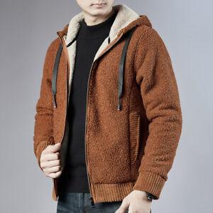 Winter Hoodie Jacket Outwear Coat Men Wool Blend Faux Fur Fleece Lined Oversize