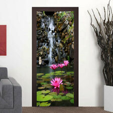 3D Lotus Stream Landscape Door Wall Sticker Photo PVC Waterproof Wall Mural