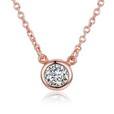 Simple Round Cubic Zirconia Pendant Necklace 18K Rose Gold Plated Women Jewelry