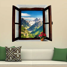 3D Outside Window Snow Mountain Wall Stickers Decals Mural Home Room Decor