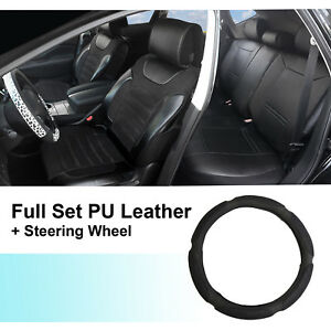 Black PU Leather Suede 5 Car Seat Covers Cushion Front Rear 802551 Mercedes-Benz
