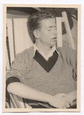 PHOTO ANCIENNE Dormeur Sommeil Sieste Repos Yeux fermés 1955 Chaise longue Homme