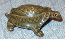"Vintage Miniature Green Pottery Turtle Figurine 3"" long 2-1/8"" wide Tortoise"