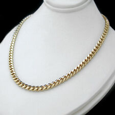 """New 4mm Rounded CURB Link 22"""" GOLD GL MENS Necklace 