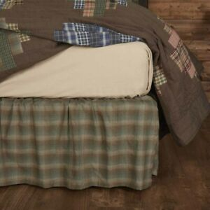 VHC Brands Rustic King Bed Skirt Brown Gathered Seneca Cotton Bedroom Decor