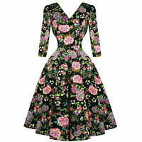 Hearts & Roses London Black Pink Floral 1950s Vintage Retro Flared Swing Dress