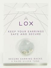 Lox hypo-allergenic locking earring backs butterfly fittings TWO  silver tone