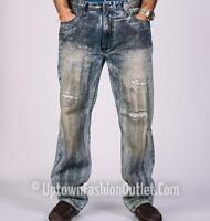 Men/'s Big /& Tall Makobi Straight Fit Black Denim Jeans with PU Snake Print Trim