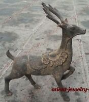 Collectables China Archaic Bronze Animal Statue Lucky Coin Deer Carvings