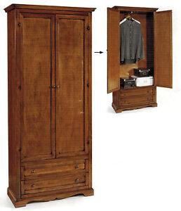 Armadio 2 ante e due cassetti in arte povera legno massello classico