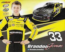"2016 BRANDON JONES ""ELJER MENARDS RCR RACING"" #33 NASCAR XFINITY SERIES POSTCARD"