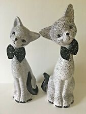 "Lot 2 Kitten Cat Figurines 10"", 11"" Polka Dot Bowties Black White Gray Ceramic"