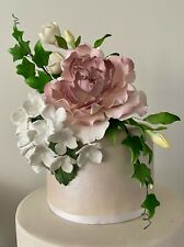 Mauve Peony Ivy Hydrangea Sugar flower wedding birthday cake decoration topper