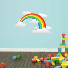 RAINBOW Full Color Wall Decal Sticker Cute Clouds Rain Kids Nursery (Col574)