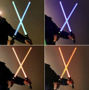 2PCS Lightsaber Led Flashing Light Saber Sword Kids Toy Double Cosplay Weapons