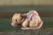 NEEDLE FELTED Snowflake Baby Sleepy Mouse Winter Christmas  WOOL NEW OOAK