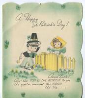 VINTAGE ST PATRICKS DAY IRISH GIRL BOY PIPE CLOVER US FLAG POP UP GREETING CARD