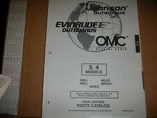 EVINRUDE OUTBOARD MOTOR BOAT ENGINE 3, 4 MODELS  Illust. parts