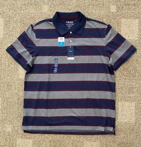 Mens IZOD Sport Flex Cool Fx Short Sleeve Polo Shirt Smoked Pearl Stripe Size XL